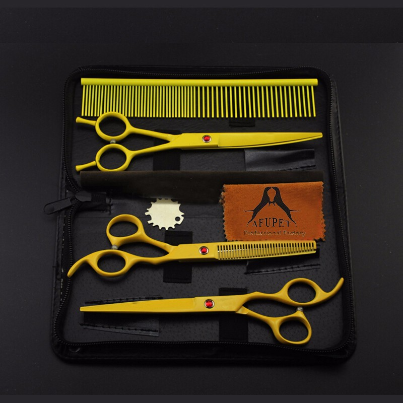 7 inch pet grooming scissor set with multi color