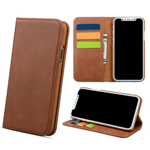 Magnetic closure folio wallet leather phone case for iPhone X
