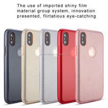 Free sample high quality 3 in 1 TPU PC glitter mobile case for Iphone x,glitter case for Iphone x