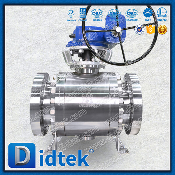 Didtek 900LB F51 10inch Gear Operator Bolted Bonnet DIDTEKFTBV Forged Trunnion Ball Valve For Acid