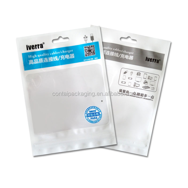 Clear window + white finish retail resealable ziplock data cable packing bag with custom logo