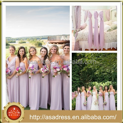 BDR2 Gorgeous Custom Made Strapless Sweetheart Purple Chiffon Bridesmaid Dresses Long