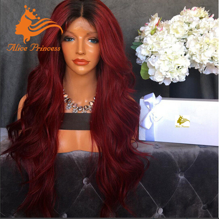 7A Grade Loose Wave Ombre 1BT99J Full Lace Wig Red Two Tone Color Virgin Indian Human Hair Colorfull Rainbow Lace Wig