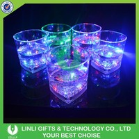 Square Liquid Activated Led Lighting Whisky Glass,Led Coloful Whisky Cup,3oz Whisky Glass