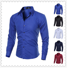 2016 New Men's Dress Shirts New Long Sleeve White Shirt Formal Casual