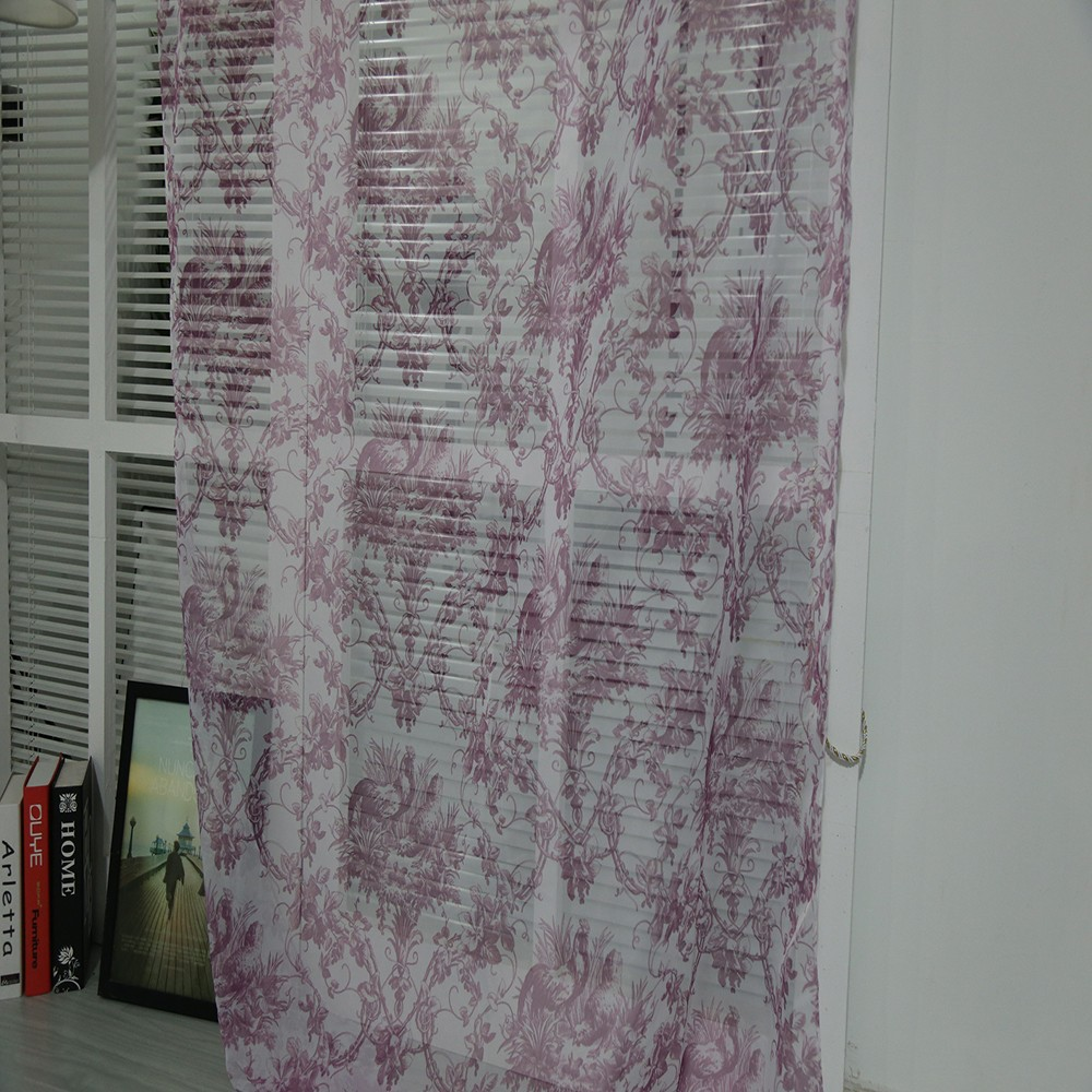 Custom made European design bedroom printed voile tulle curtain fabric for London curtain