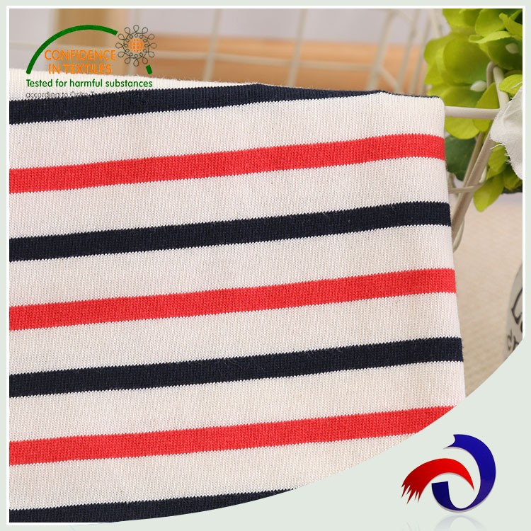 2017 wholesale knitted stripe plain organic 100% cotton textile fabric