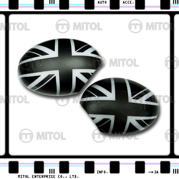 Car Door Mirror Side Mirror Cover BLACK UNION JACK For Mini Cooper 01-06