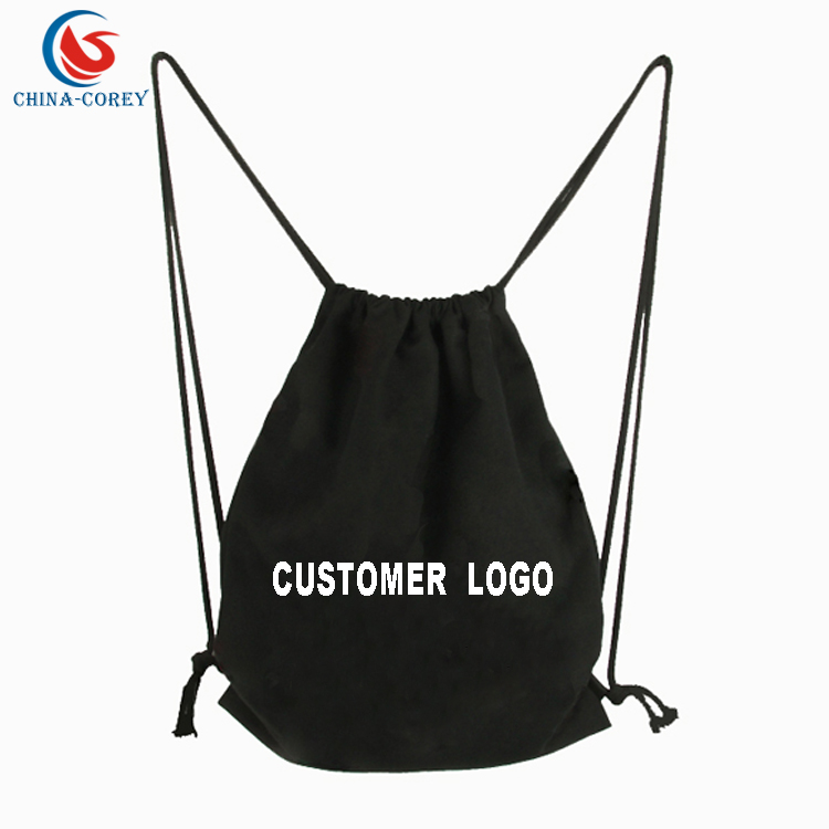 small black cotton canvas drawstring bag for packing gifts