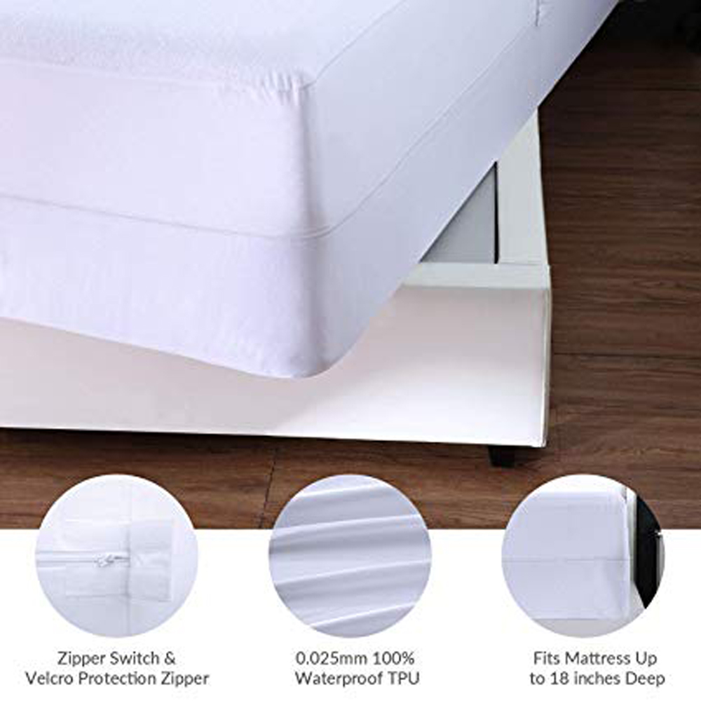 Queen Size Breathable Fitted Hypoallergenic Waterproof Mattress Protector with zipper - Jozy Mattress | Jozy.net