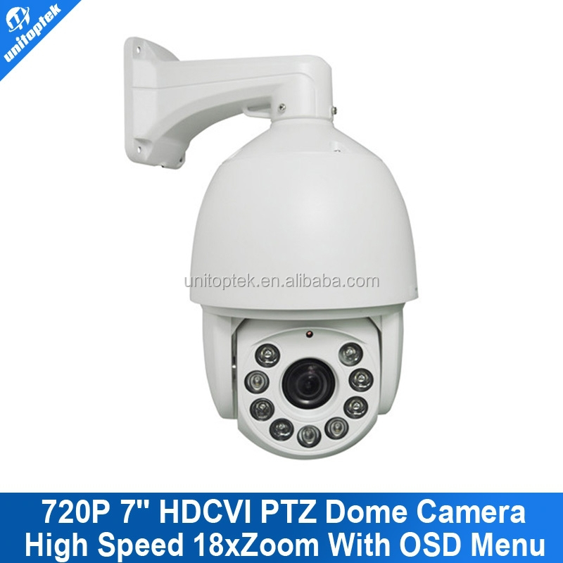 7 Inch 720p HD PTZ Dome HDCVI Camera 1.0 Mega Pixel 18XOptical Zoom CVI Camera 9pcs Array IR Leds 120m Support CVI DVI