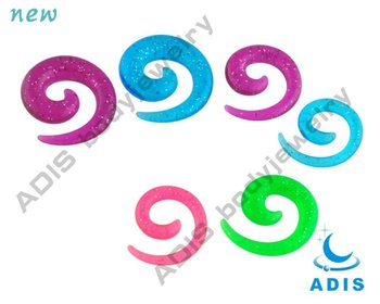 Glitter Ear Taper Expander Gauge Colorful Acrylic Ear Spiral Piercing