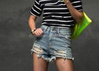 Cheap wholesale women High waist worn holes shorts light blue fashion high waist denim shorts