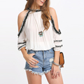 Crochet Trim Cold Shoulder Tassel Hem Blouse Tops Women Clothing