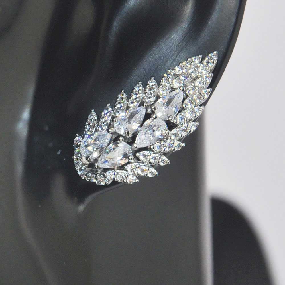 OB Jewelry-Wholesale Price Small MOQ AAA Clear Zircon Braid Earrings With White Gold Plating