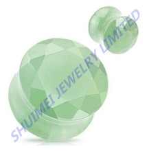 Green Jade Gem Stone Ear Plugs Precious Double Flared Tunnels