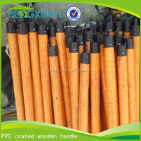 Factory wholesale pvc coloful top cap mop/ natural wood walking stick