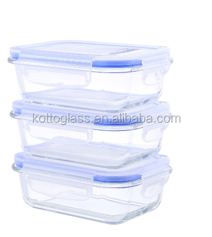 Glass Food Container Rectangular Food Storage Container Set includes 3 Containers and 3 Vented Lids