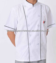 Mens short sleeves stand up collar white polyester cotton twill restaurant work shirt