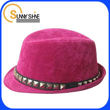 Custom padded belt rivet British jazz hat retro hats pink hats and caps