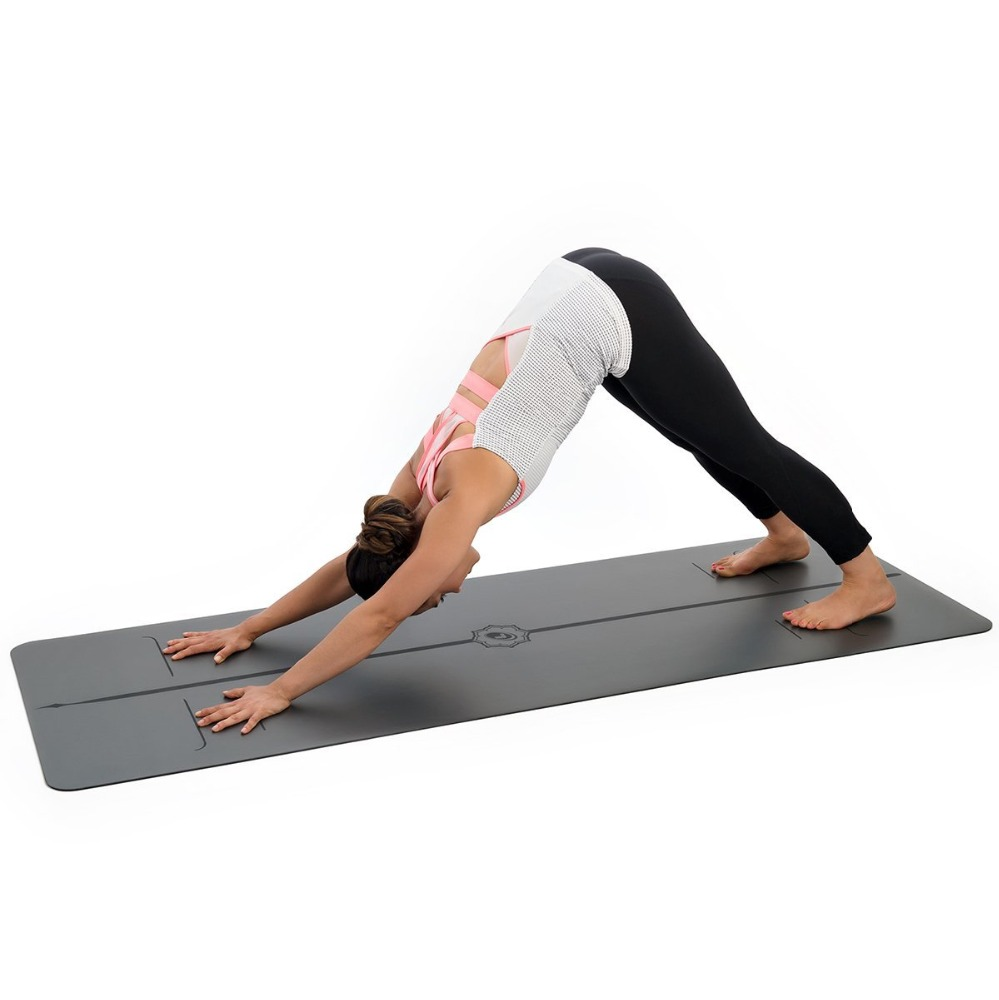Wet grip Printed position guide Line <strong>Eco</strong> friendly Great Cushioning PU leather rubber Black yoga mat