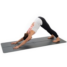 Wet grip Printed position guide Line Eco friendly Great Cushioning PU leather rubber Black yoga mat