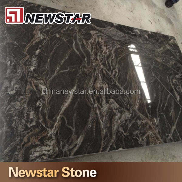White Vein Black Granite Stone Brazilian Black Granite Slabs