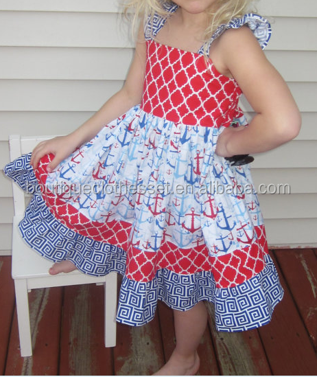 Boutique 4Th Of July Dress Girls Red White & Blue Anchor Dress Nautical Sundress Summer Flutter Dress