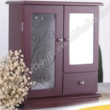Wholesale High Quality jewelry wooden box with mirror, Wooden Jewelry Display with hook wholesale
