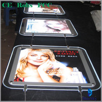 Double side poster display PMMA sheet hanging led light frame