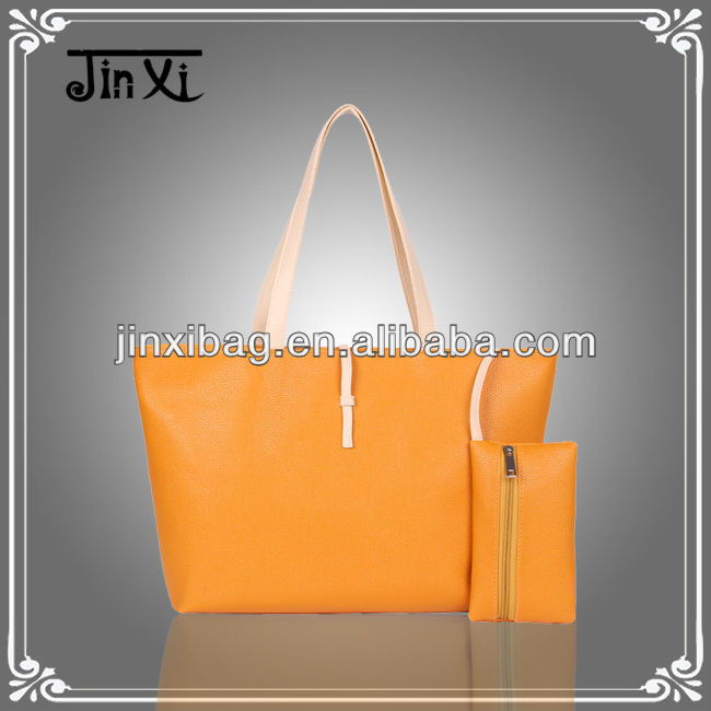 Oem Pu leather handbag and purse set for girls