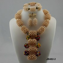 High fashion african jewelry sets bridal diamond necklace settings big party set artificial latest design beads