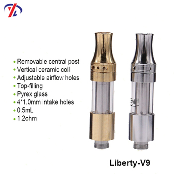 Liberty V9 Top airflow adjustable airflow ceramic coil CBD cartridge for wholesale
