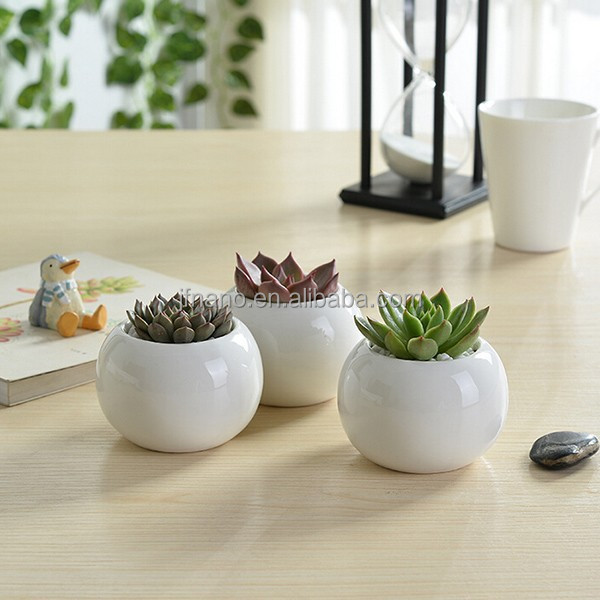 Indoor 2 inch round white mini ceramic planters