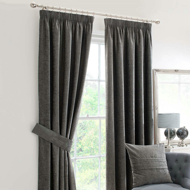 Charcoal Gray Lined Pencil Pleat Curtains