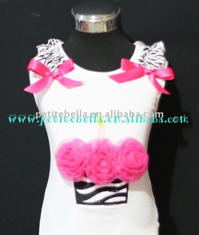 Hot Pink Rosettes Zebra Birthday Cake Top with Hot Pink Ribbon and Zebra Ruffles MATD12