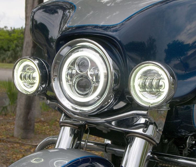 "Newest angel eye 7"" led daymaker headlight for Harley Davidson Motorcycle"