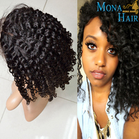 Hot Sale Virgin Brazilian Tight Curly Human Hair Full Lace Wig with Baby Hair
