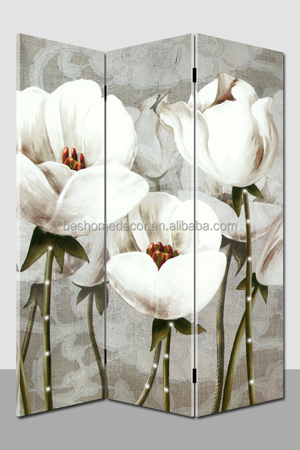 wholesale Cheap Folowers Canvas oil painting Folding Screen Room Divider With led lights
