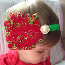 High Quality Baby Boutique Christmas Elastic Headbands Infant Kids Beautiful Feathers Rhinestone Pearl Headbands