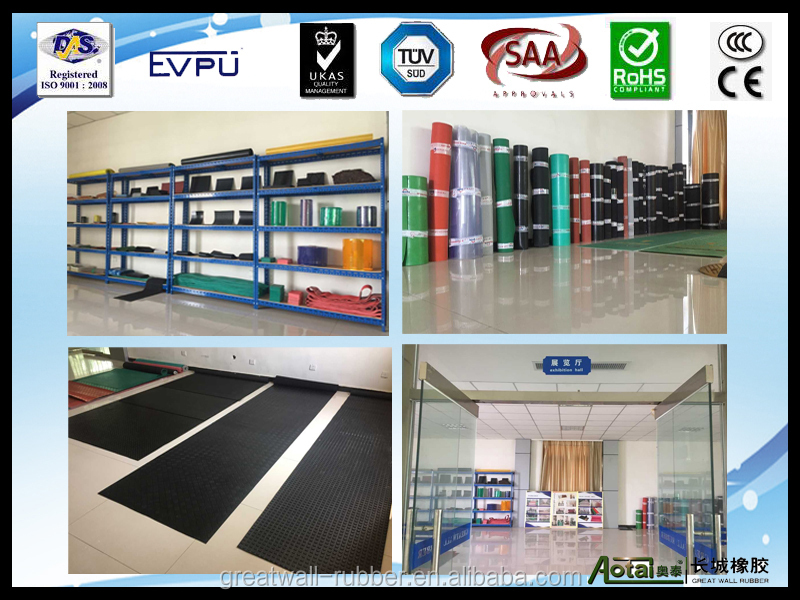 best quality 3-8mm thickness 0.6-1.5m width fine ribbed rubber mat with Quality Management System Certificate of conformity
