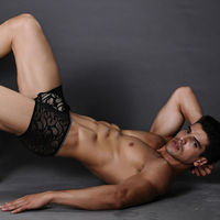 in stock sexy viscose black transparent underwear thong for men