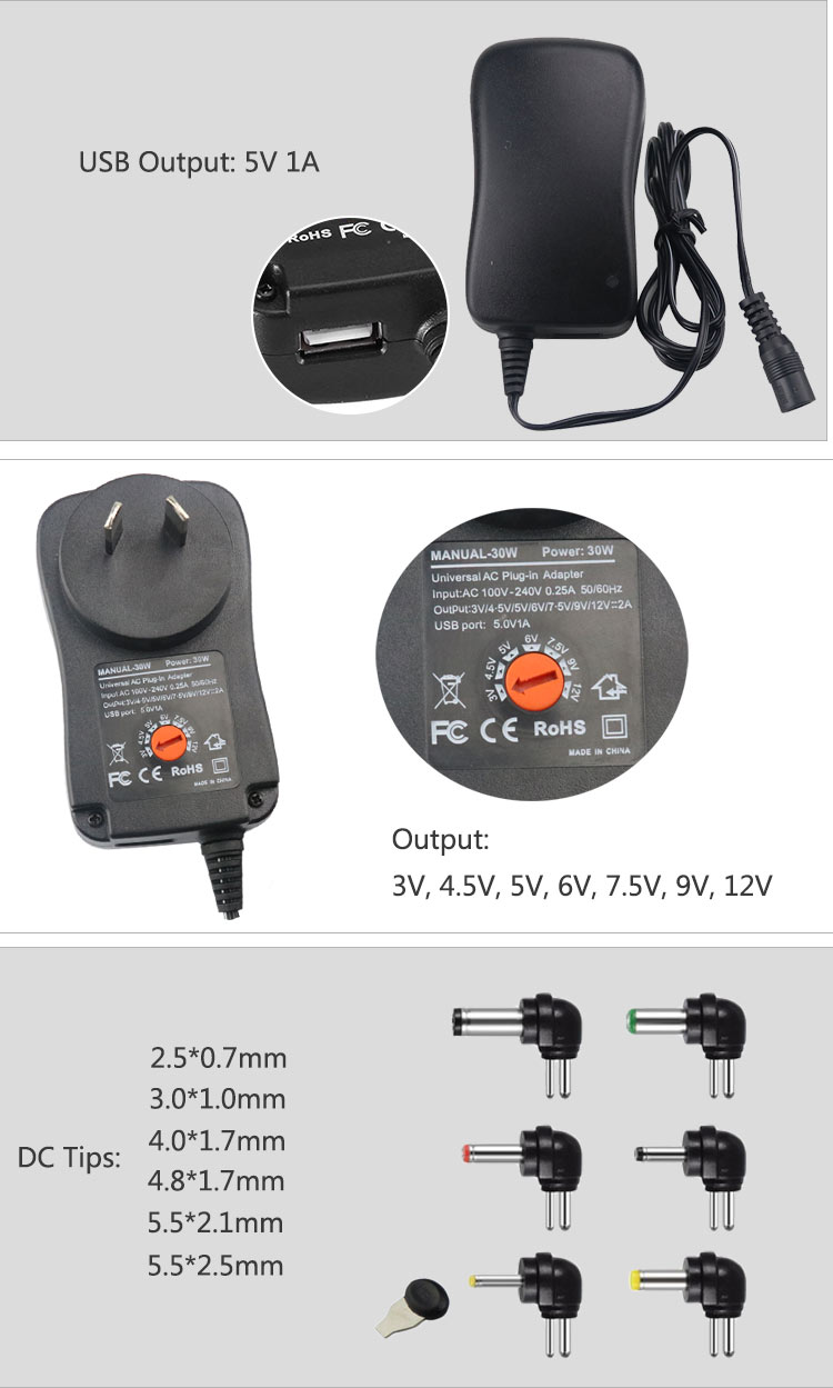 AU plug 30w universal adapter multi output ac charger with 6 dc tips