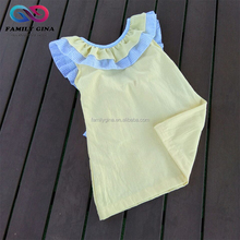 Wholesale Hot Sale Summer Girls Cotton Ruffled Monogrammed Seersucker Dress