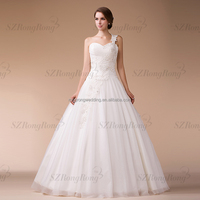 HM9687 One Shoulder Beaded Lace Sweetheart Ball Gown Wedding Dresses 2015 Turkey