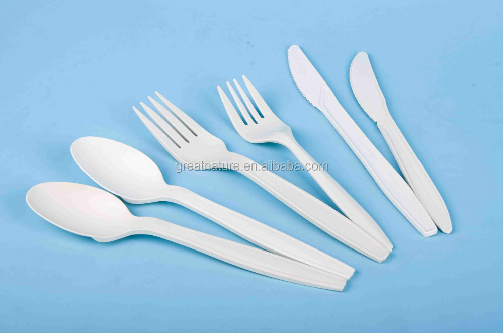 Corn starch plastic spoon fork and knife