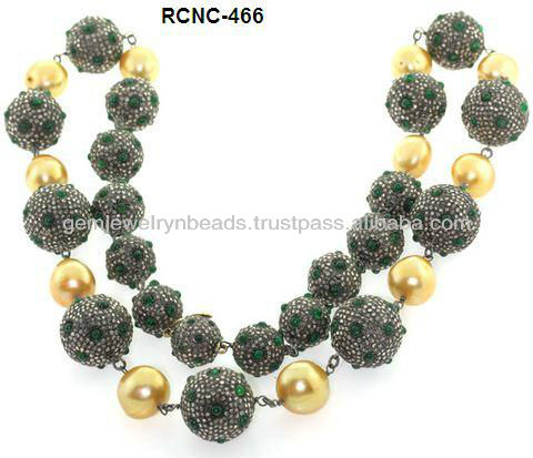 2017 Latest Elegant Handmade Design Emerald & Pearl Gemstone Pave Diamond Wedding Necklace