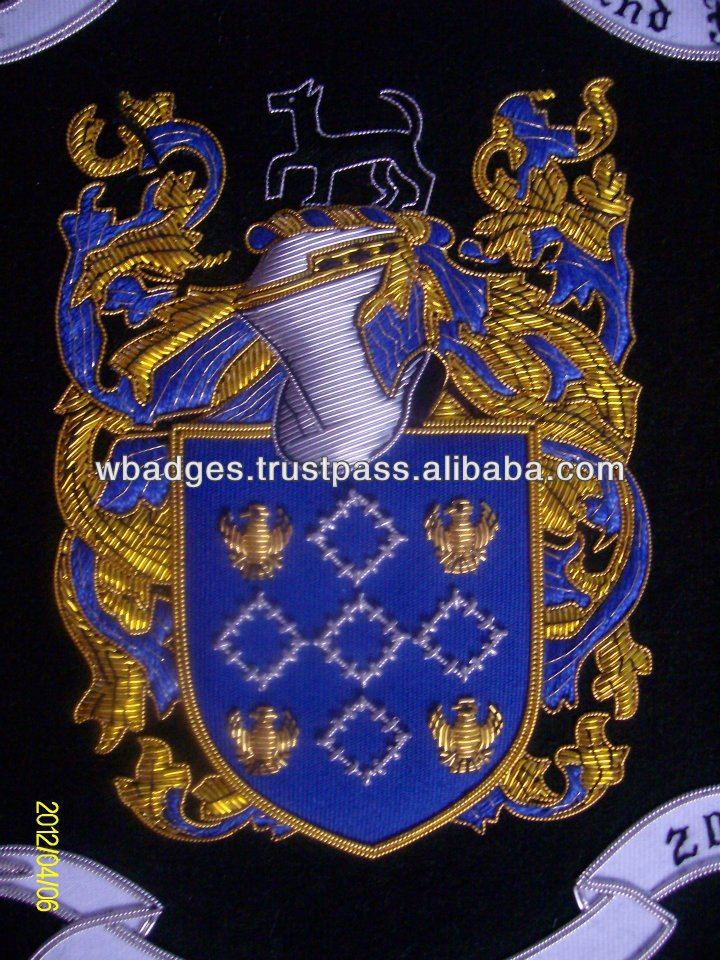 Hand Embroidered Family Crest / Coat Of arms