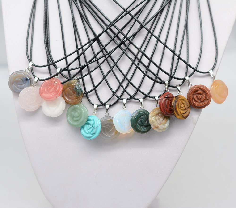 Mixed Crystal Agate Rose Quartz Nature Stone Carved Rose Flower Leather Chain Pendant Necklace For Women