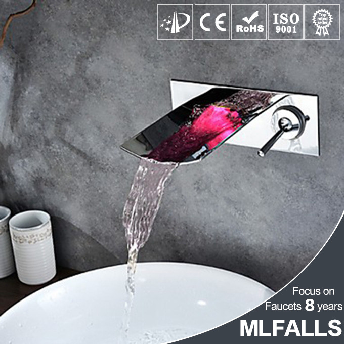 Beauty colors changed led wall mounted cold hot water mixer bathroom basin tap